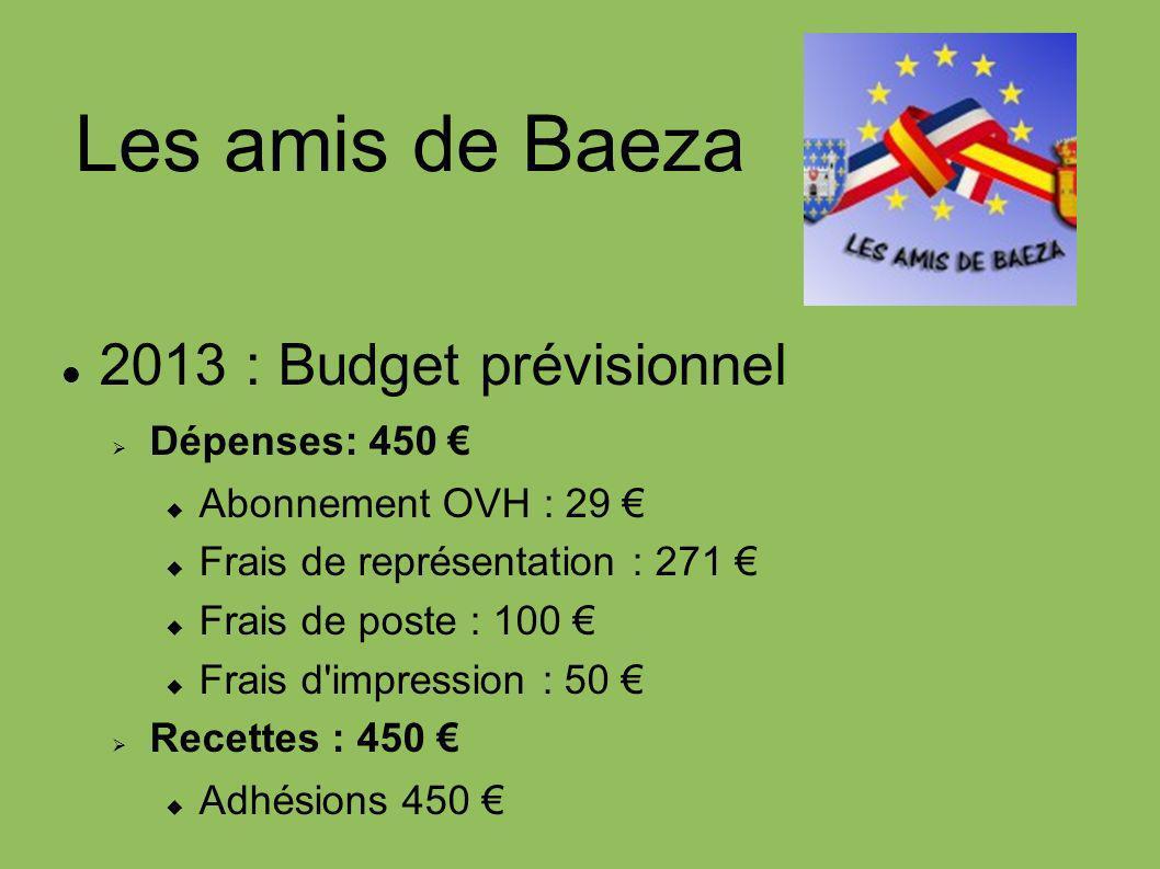 Les amis de Baeza 2013 : Budget prévisionnel Dépenses: 450 Abonnement OVH : 29 Frais de représentation : 271 Frais de poste : 100 Frais d'impression :