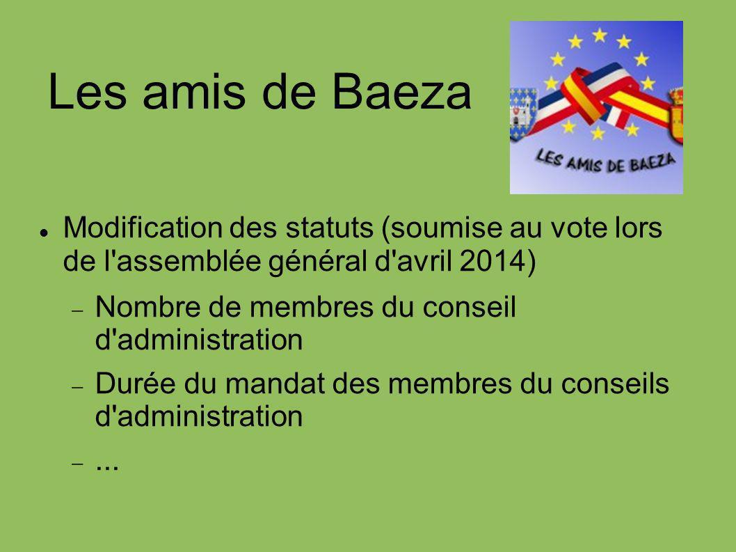 Les amis de Baeza Modification des statuts (soumise au vote lors de l'assemblée général d'avril 2014) Nombre de membres du conseil d'administration Du