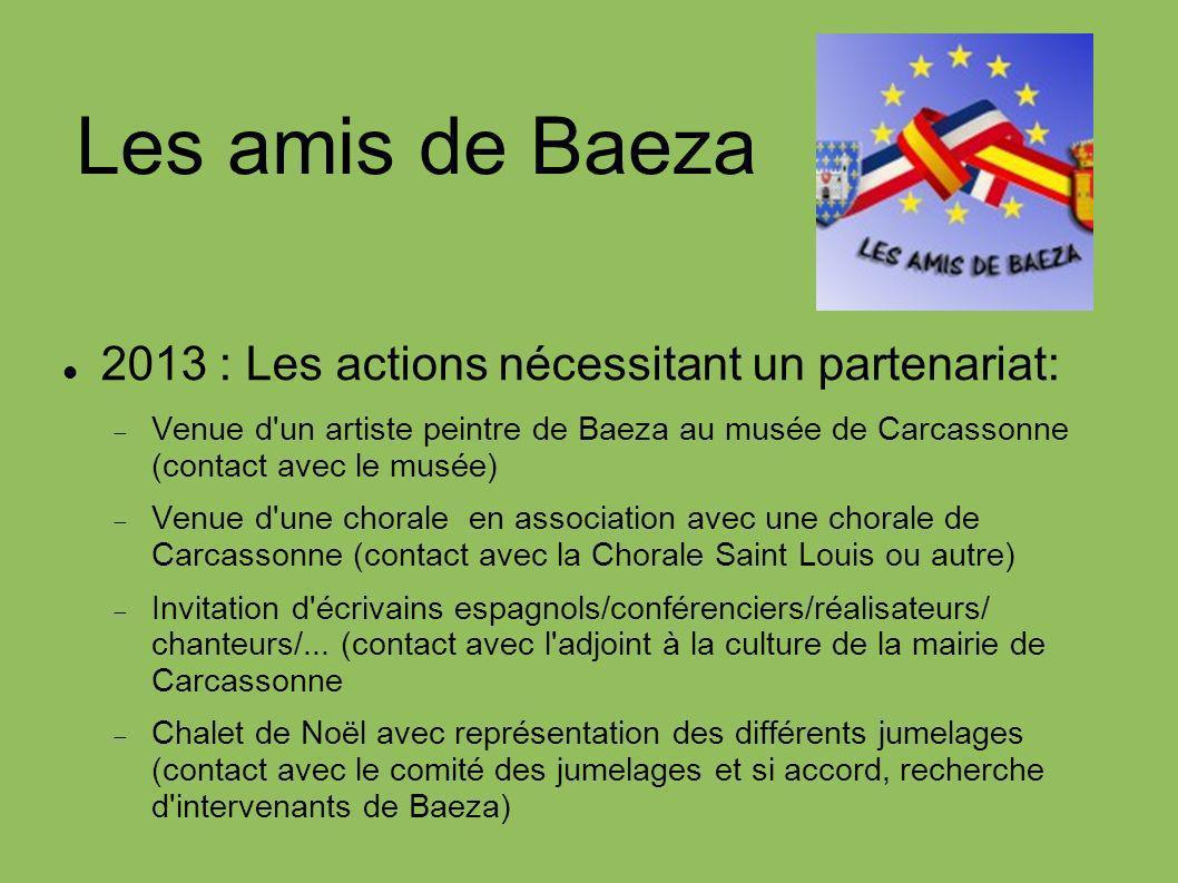 Les amis de Baeza 2013 : Les actions nécessitant un partenariat: Venue d'un artiste peintre de Baeza au musée de Carcassonne (contact avec le musée) V