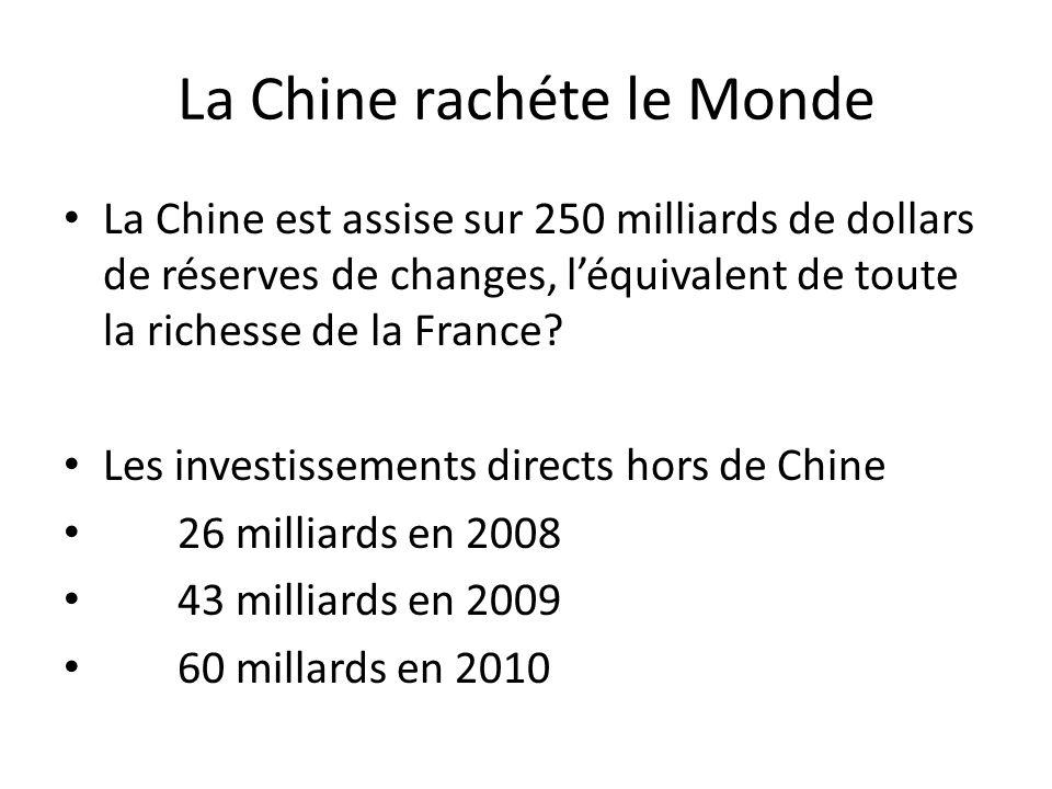 La Chine rachéte le Monde La Chine est assise sur 250 milliards de dollars de réserves de changes, léquivalent de toute la richesse de la France? Les