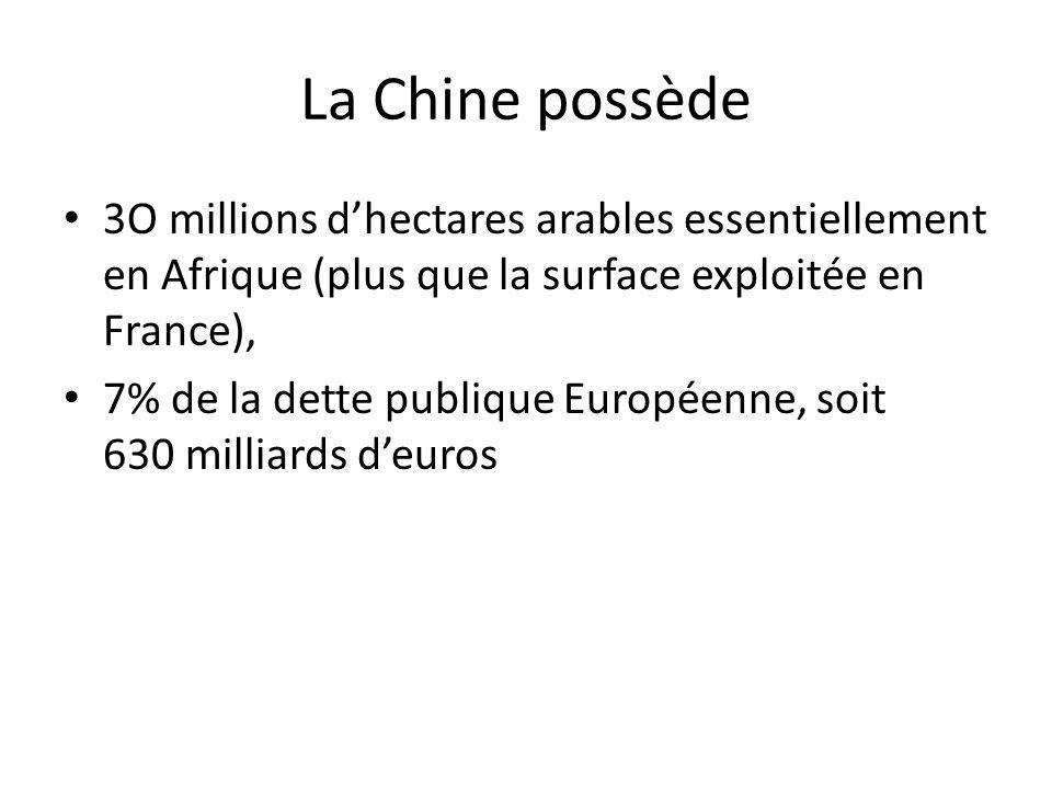 La Chine possède 3O millions dhectares arables essentiellement en Afrique (plus que la surface exploitée en France), 7% de la dette publique Européenne, soit 630 milliards deuros