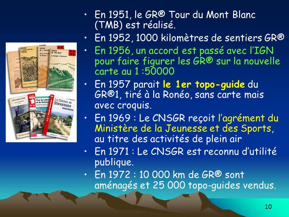 10 En 1951, le GR® Tour du Mont Blanc (TMB) est réalisé. En 1952, 1000 kilomètres de sentiers GR® En 1956, un accord est passé avec lIGN pour faire fi