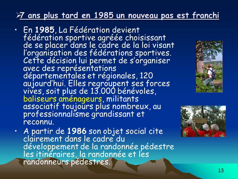 13 7 ans plus tard en 1985 un nouveau pas est franchi 7 ans plus tard en 1985 un nouveau pas est franchi En 1985, La Fédération devient fédération sportive agréée choisissant de se placer dans le cadre de la loi visant lorganisation des fédérations sportives.