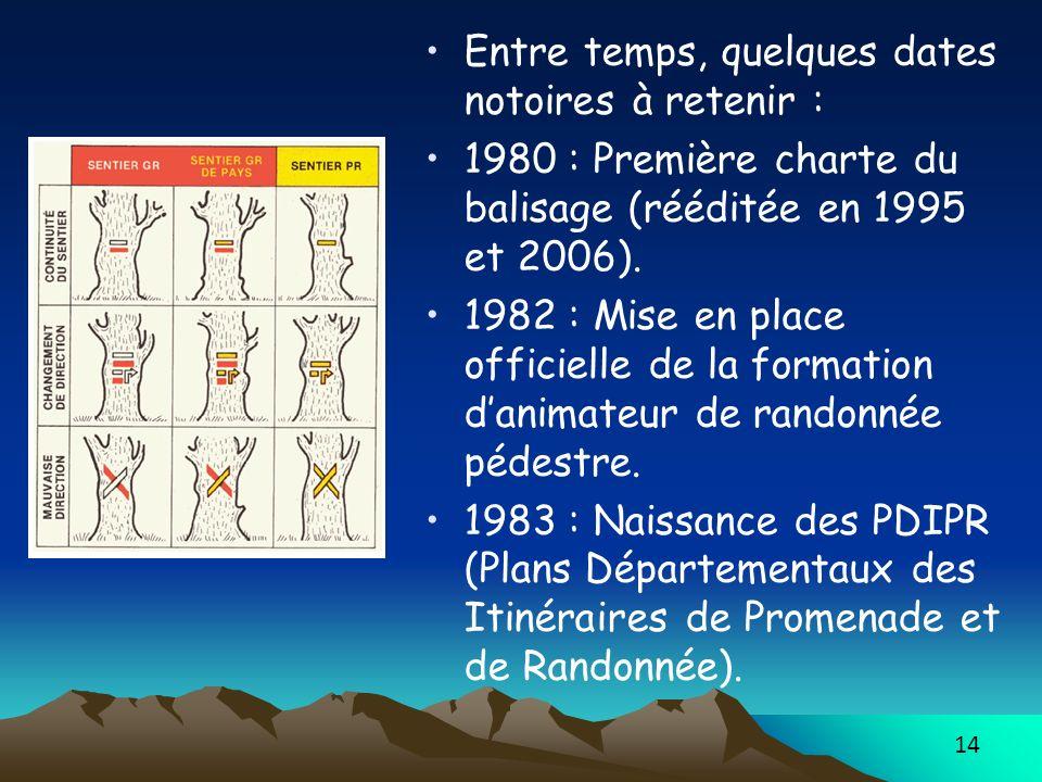 14 Entre temps, quelques dates notoires à retenir : 1980 : Première charte du balisage (rééditée en 1995 et 2006). 1982 : Mise en place officielle de