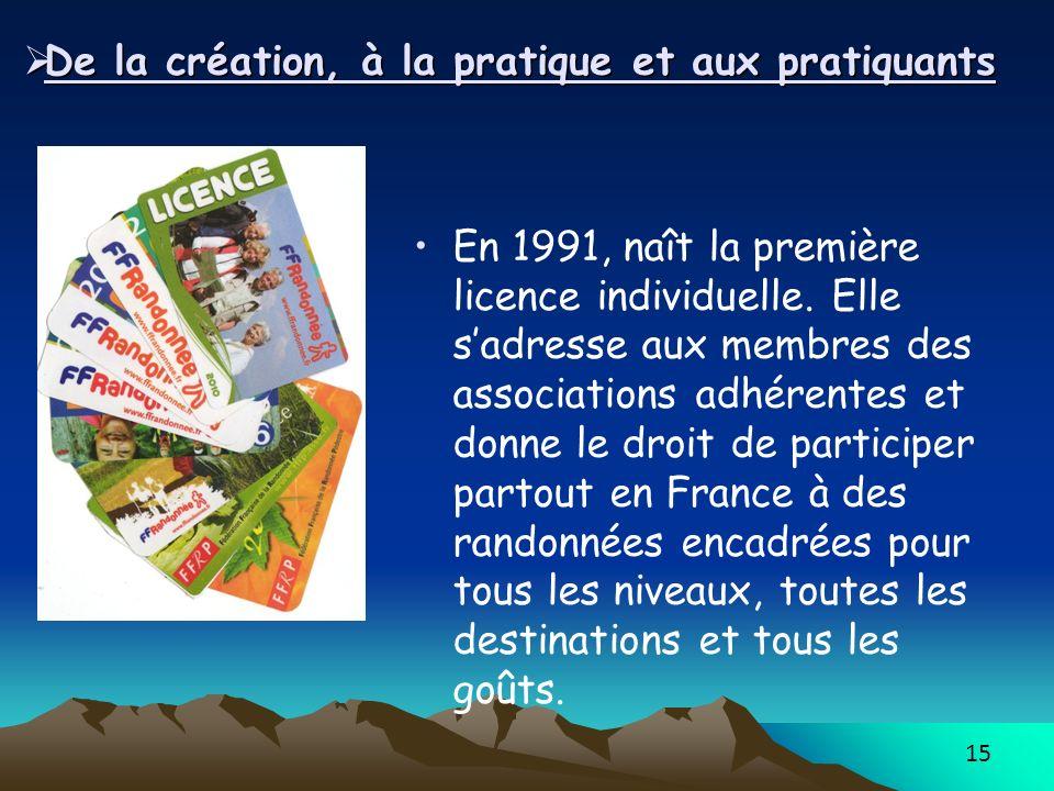 15 De la création, à la pratique et aux pratiquants De la création, à la pratique et aux pratiquants En 1991, naît la première licence individuelle. E