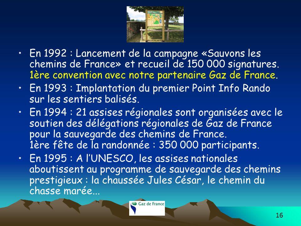 16 En 1992 : Lancement de la campagne «Sauvons les chemins de France» et recueil de 150 000 signatures. 1ère convention avec notre partenaire Gaz de F