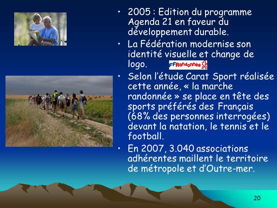 20 2005 : Edition du programme Agenda 21 en faveur du développement durable. La Fédération modernise son identité visuelle et change de logo. Selon lé