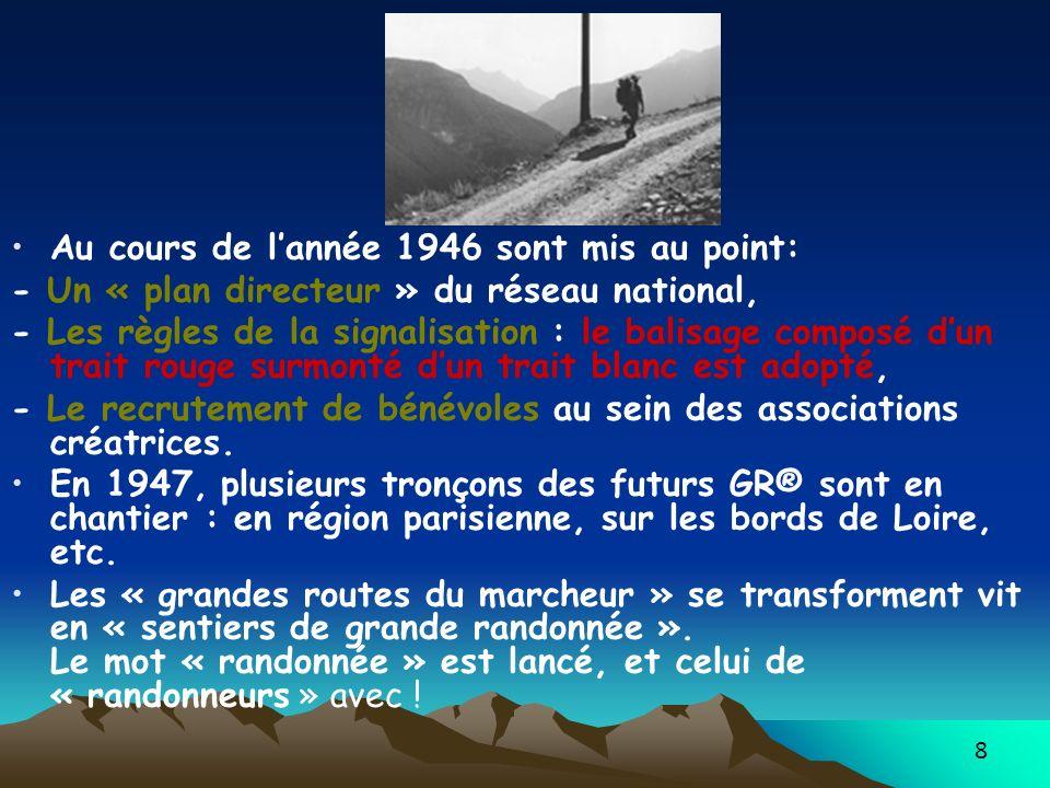 8 Au cours de lannée 1946 sont mis au point: - Un « plan directeur » du réseau national, - Les règles de la signalisation : le balisage composé dun tr