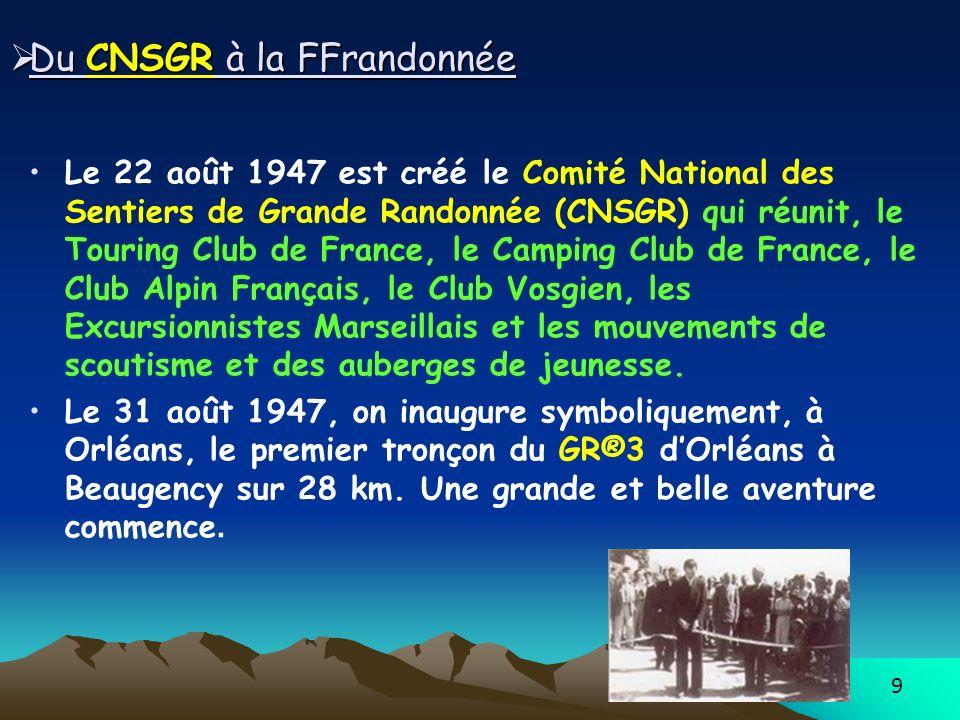 9 Du CNSGR à la FFrandonnée Du CNSGR à la FFrandonnée Le 22 août 1947 est créé le Comité National des Sentiers de Grande Randonnée (CNSGR) qui réunit, le Touring Club de France, le Camping Club de France, le Club Alpin Français, le Club Vosgien, les Excursionnistes Marseillais et les mouvements de scoutisme et des auberges de jeunesse.