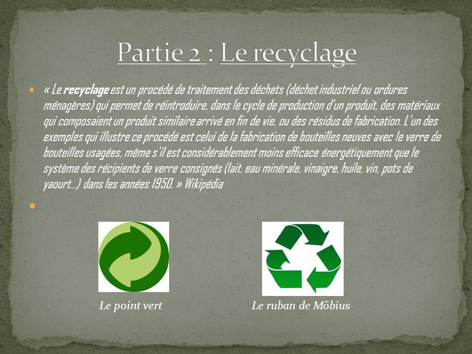 « Le recyclage est un procédé de traitement des déchets (déchet industriel ou ordures ménagères) qui permet de réintroduire, dans le cycle de production d un produit, des matériaux qui composaient un produit similaire arrivé en fin de vie, ou des résidus de fabrication.