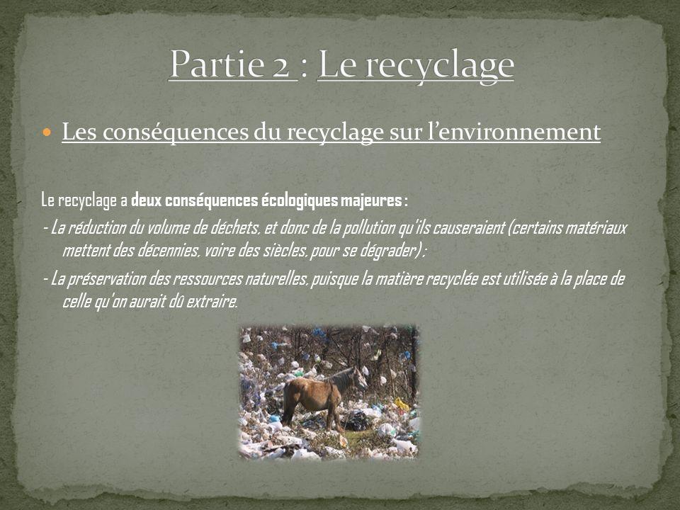 Les conséquences du recyclage sur lenvironnement Le recyclage a deux conséquences écologiques majeures : - La réduction du volume de déchets, et donc de la pollution qu ils causeraient (certains matériaux mettent des décennies, voire des siècles, pour se dégrader) ; - La préservation des ressources naturelles, puisque la matière recyclée est utilisée à la place de celle qu on aurait dû extraire.
