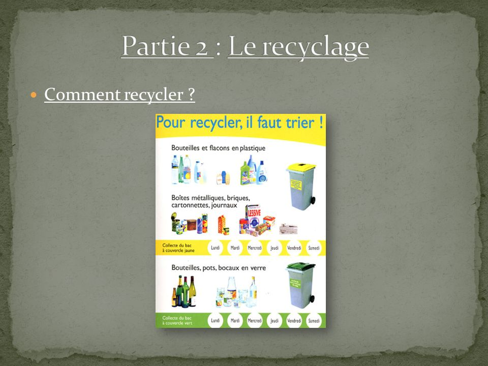 Comment recycler