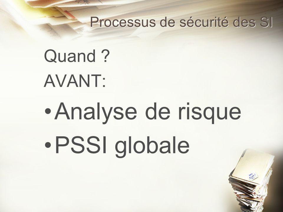 Processus de sécurité des SI Quand ? AVANT: Analyse de risque PSSI globale