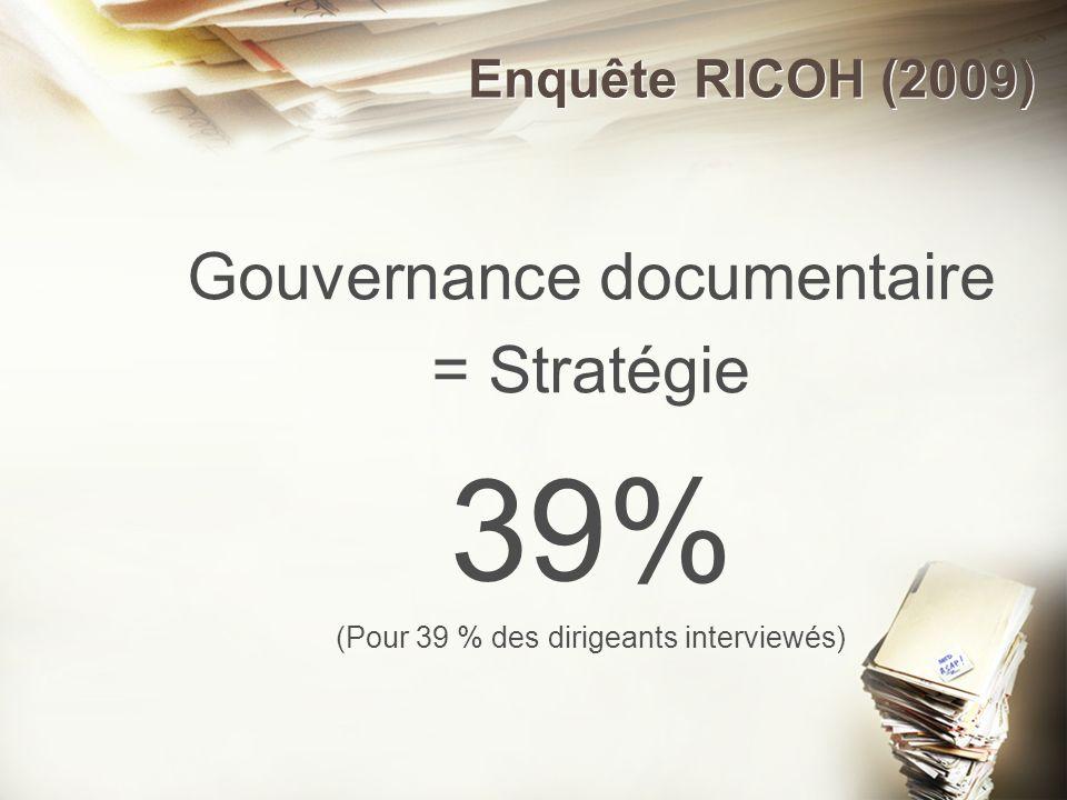 Enquête RICOH (2009) Gouvernance documentaire = Stratégie 39% (Pour 39 % des dirigeants interviewés)