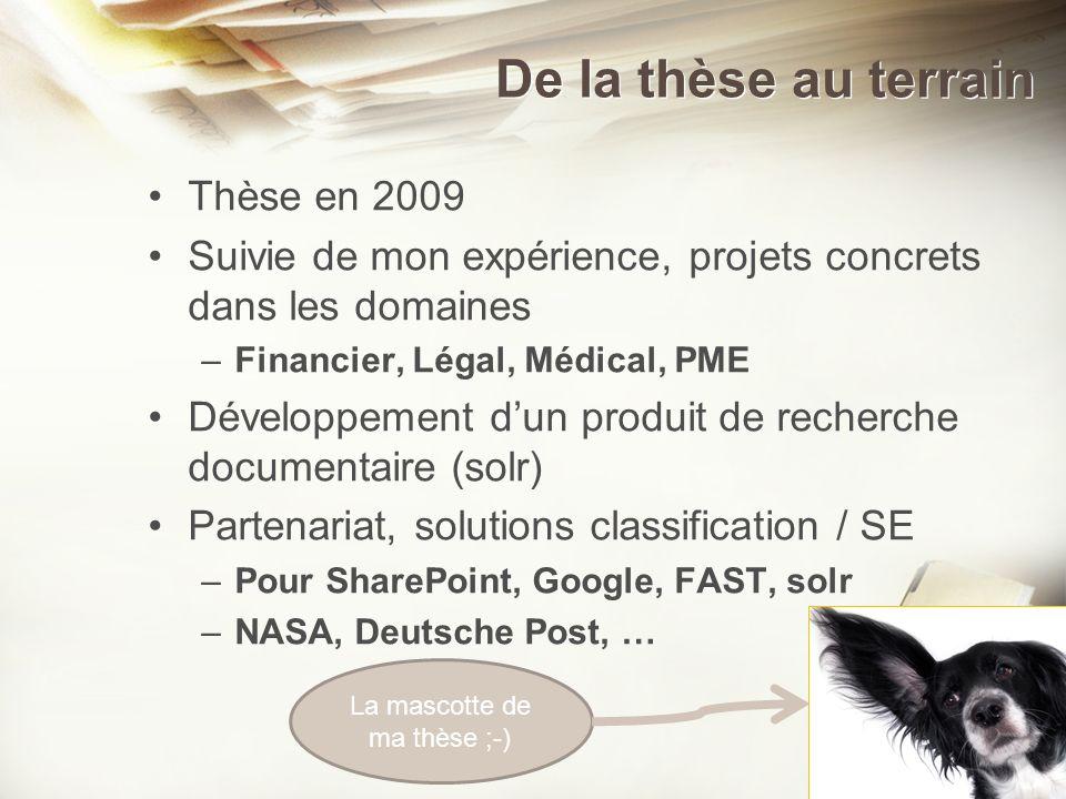 De la thèse au terrain Thèse en 2009 Suivie de mon expérience, projets concrets dans les domaines –Financier, Légal, Médical, PME Développement dun pr
