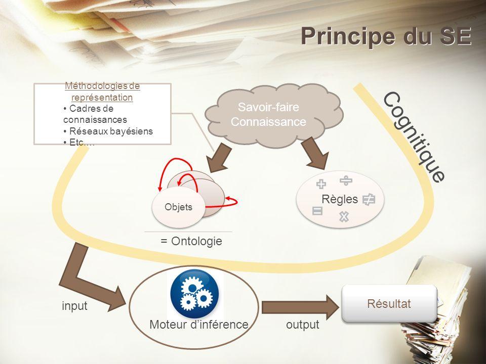 Principe du SE v Savoir-faire Connaissance Objets Règles = Ontologie Méthodologies de représentation Cadres de connaissances Réseaux bayésiens Etc.… R