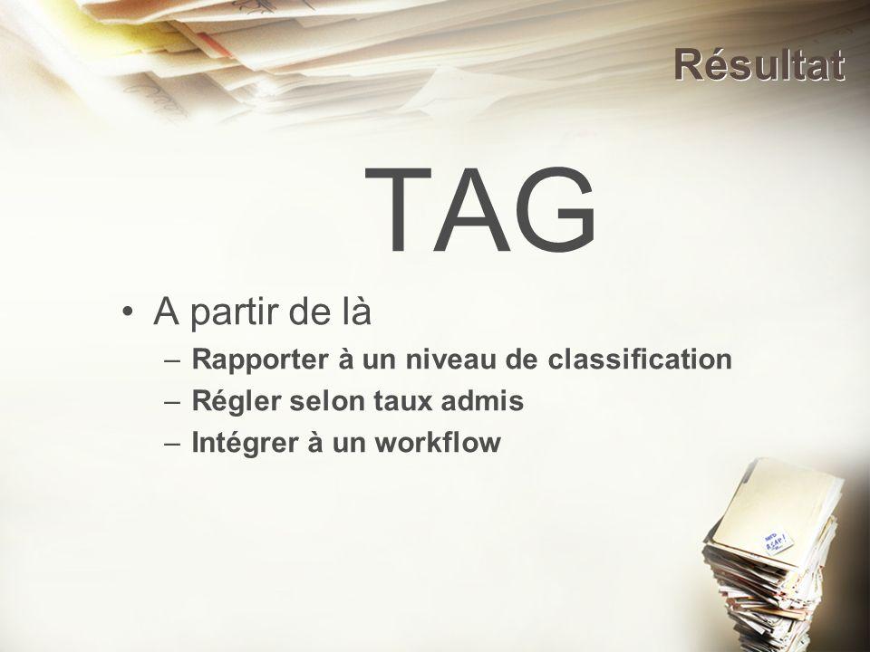 Résultat TAG A partir de là –Rapporter à un niveau de classification –Régler selon taux admis –Intégrer à un workflow