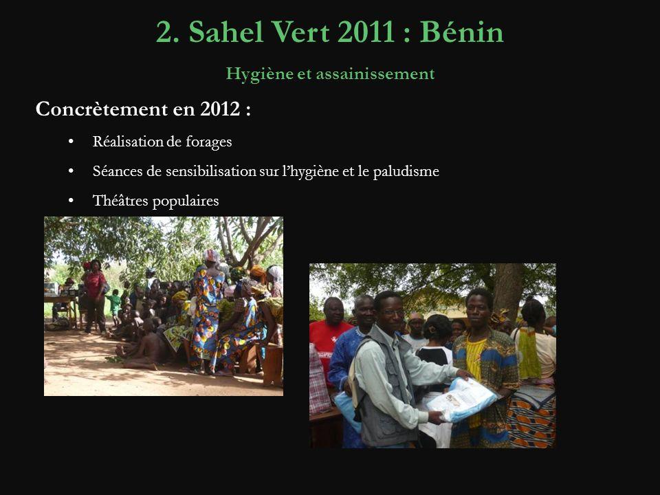 Concrètement en 2012 : Réalisation de forages Séances de sensibilisation sur lhygiène et le paludisme Théâtres populaires 2. Sahel Vert 2011 : Bénin H