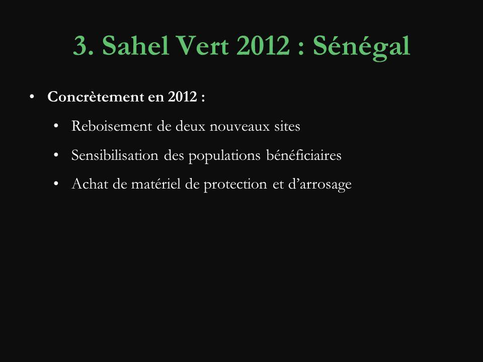 3. Sahel Vert 2012 : Sénégal Concrètement en 2012 : Reboisement de deux nouveaux sites Sensibilisation des populations bénéficiaires Achat de matériel