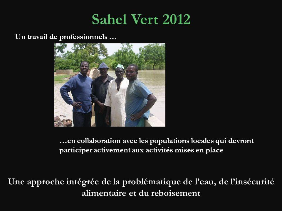 Sahel Vert 2012 Un travail de professionnels … Une approche intégrée de la problématique de leau, de linsécurité alimentaire et du reboisement …en collaboration avec les populations locales qui devront participer activement aux activités mises en place
