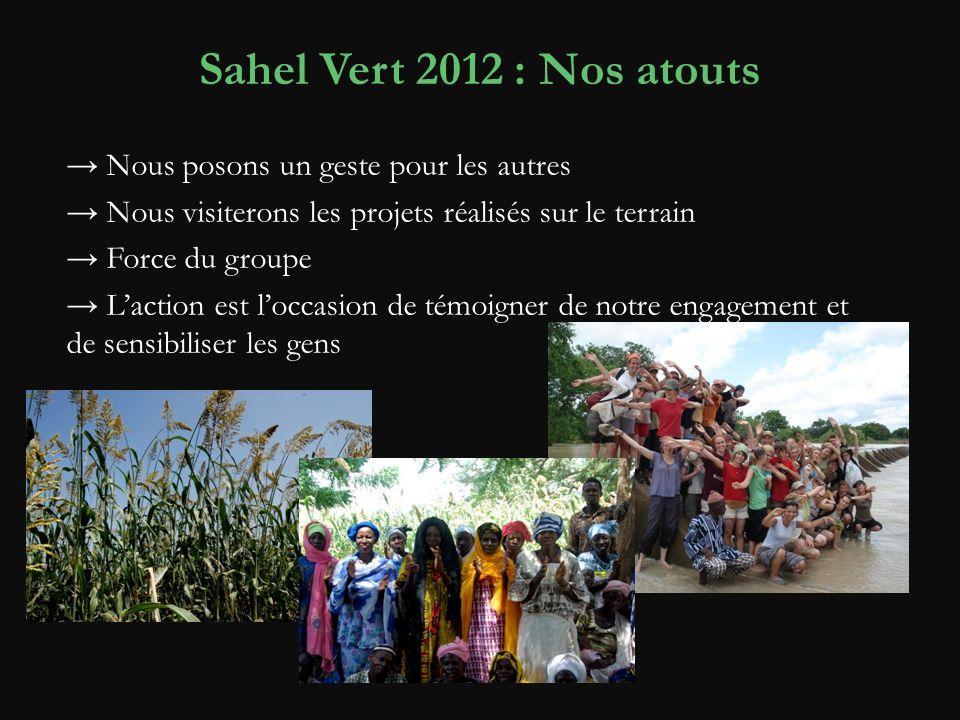 Sahel Vert 2012 : Nos atouts Nous posons un geste pour les autres Nous visiterons les projets réalisés sur le terrain Force du groupe Laction est loccasion de témoigner de notre engagement et de sensibiliser les gens