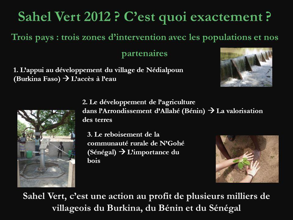 Sahel Vert 2012 ? Cest quoi exactement ? Trois pays : trois zones dintervention avec les populations et nos partenaires 1. Lappui au développement du