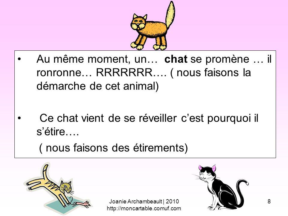 8 Au même moment, un… chat se promène … il ronronne… RRRRRRR…. ( nous faisons la démarche de cet animal) Ce chat vient de se réveiller cest pourquoi i