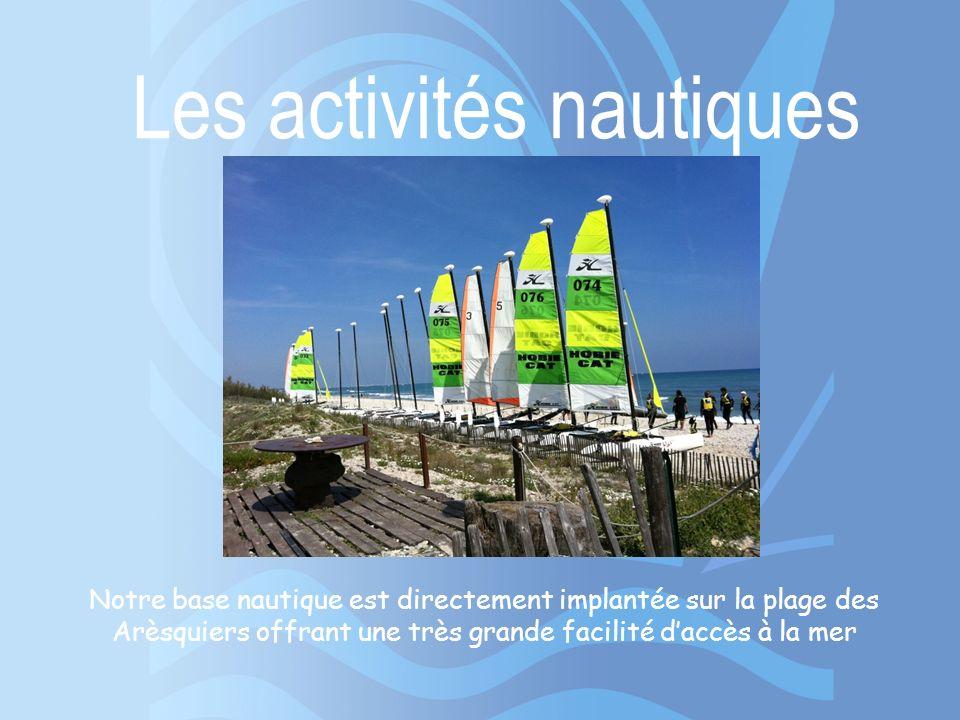 Les activités nautiques Notre base nautique est directement implantée sur la plage des Arèsquiers offrant une très grande facilité daccès à la mer