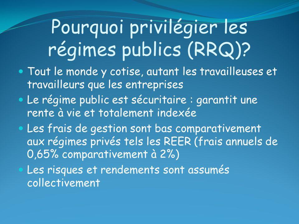 Pourquoi privilégier les régimes publics (RRQ)? Tout le monde y cotise, autant les travailleuses et travailleurs que les entreprises Le régime public