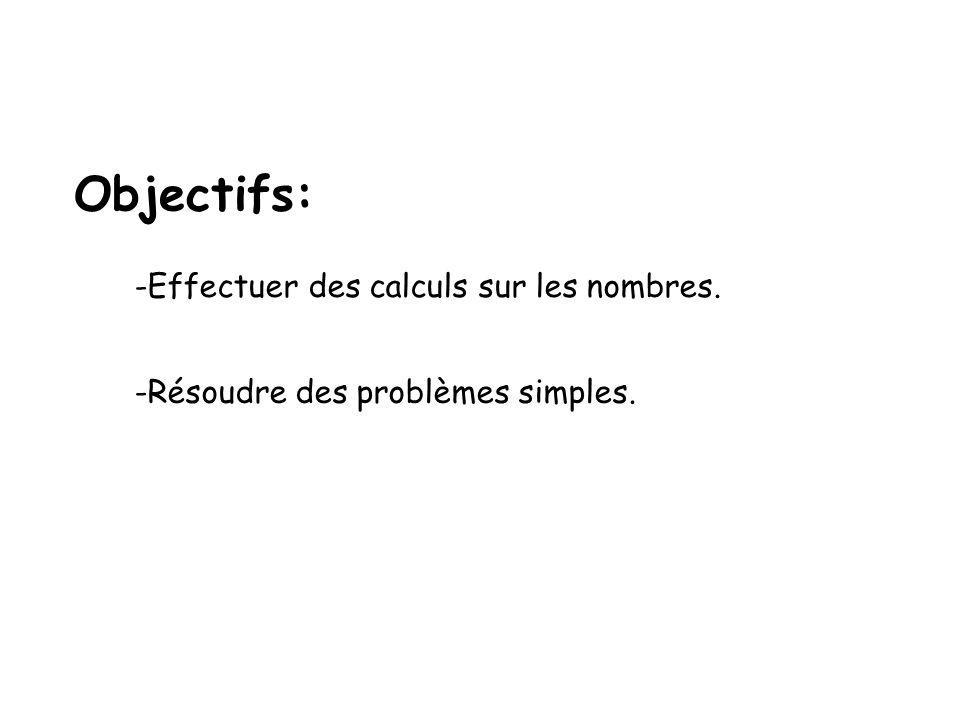 Objectifs: -Effectuer des calculs sur les nombres. -Résoudre des problèmes simples.