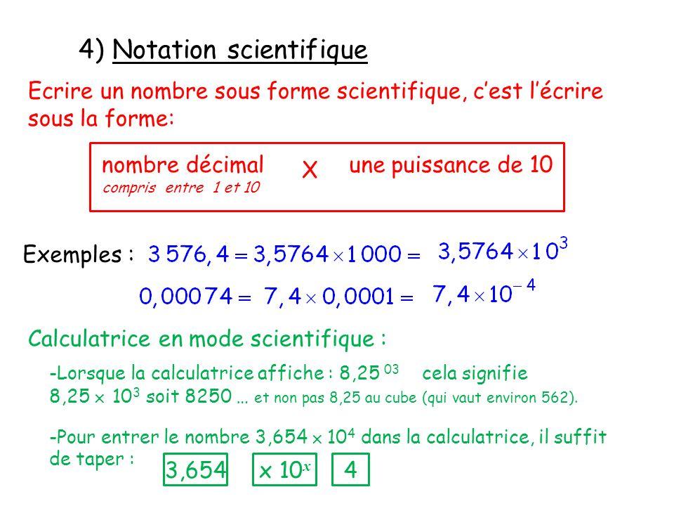4) Notation scientifique Ecrire un nombre sous forme scientifique, cest lécrire sous la forme: nombre décimal compris entre 1 et 10 une puissance de 1
