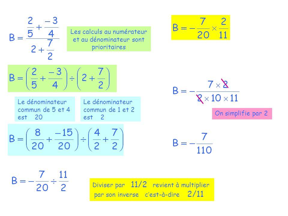 Les calculs au numérateur et au dénominateur sont prioritaires Le dénominateur commun de 5 et 4 est 20 Le dénominateur commun de 1 et 2 est 2 Diviser