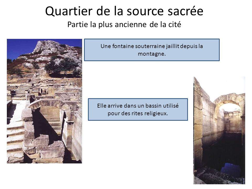 Quartier de la source sacrée Partie la plus ancienne de la cité Une fontaine souterraine jaillit depuis la montagne. Elle arrive dans un bassin utilis