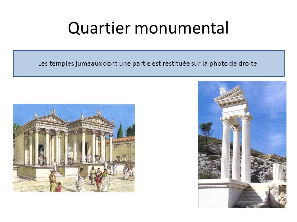 Le forum romain: groupe de bâtiments religieux et administratifs, grande place rectangulaire bordée de portiques, de temples, dune basilique et dune prison.