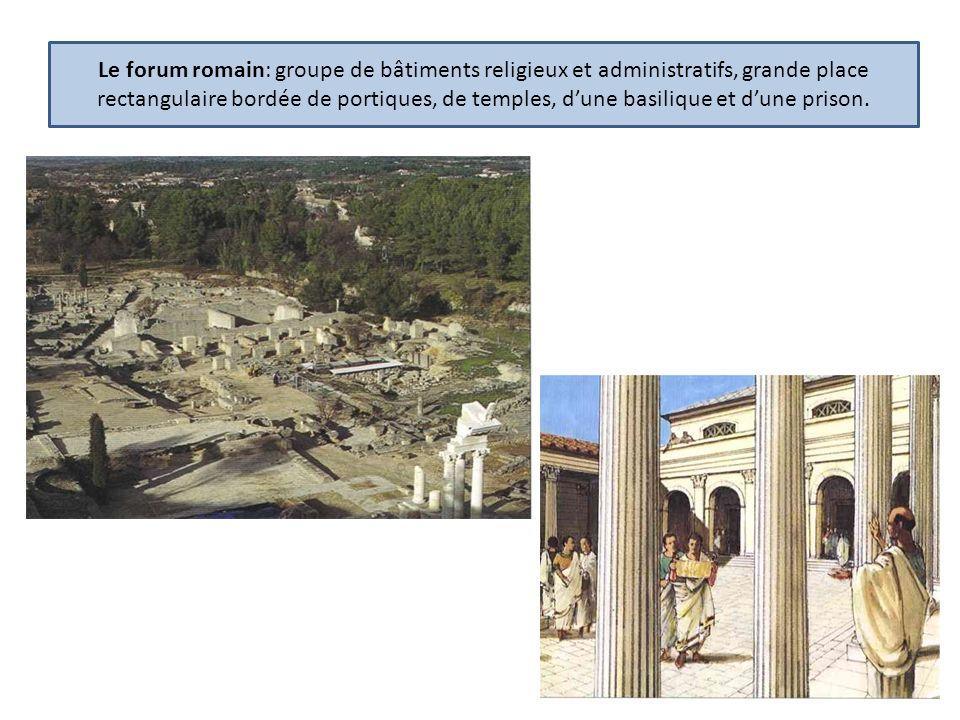 Le forum romain: groupe de bâtiments religieux et administratifs, grande place rectangulaire bordée de portiques, de temples, dune basilique et dune p
