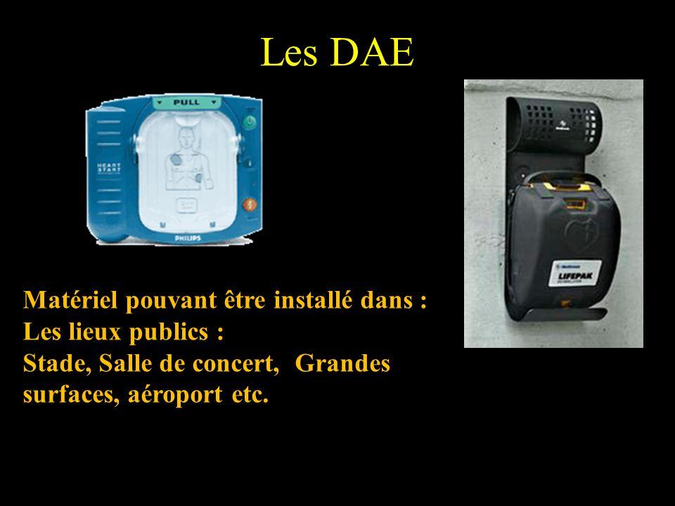 Les DAE Matériel pouvant être installé dans : Les lieux publics : Stade, Salle de concert, Grandes surfaces, aéroport etc.