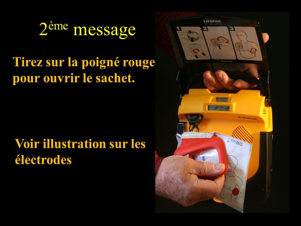 Voir illustration sur les électrodes 2 ème message Tirez sur la poigné rouge pour ouvrir le sachet.