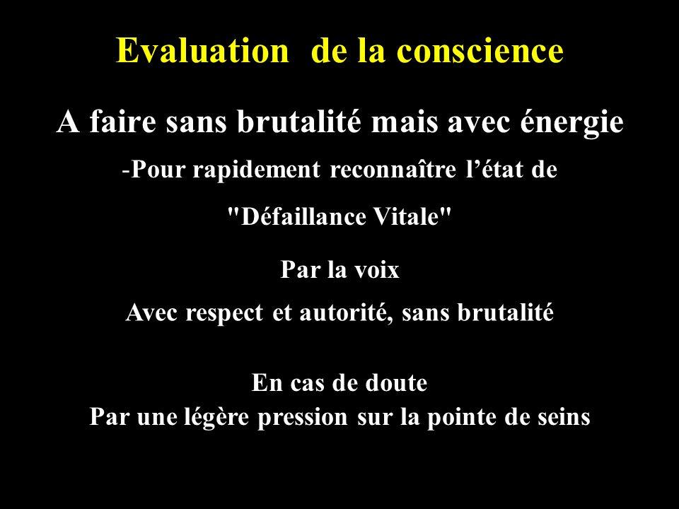 Evaluation de la conscience A faire sans brutalité mais avec énergie -Pour rapidement reconnaître létat de