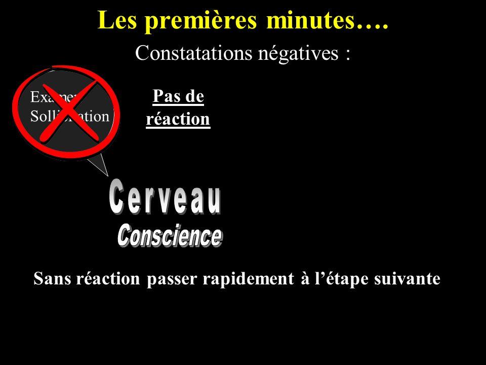Les premières minutes…. Constatations négatives : Examen Sollicitation Pas de réaction Sans réaction passer rapidement à létape suivante