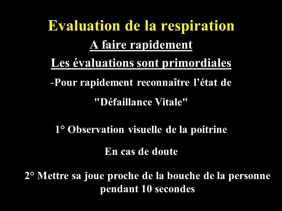 Evaluation de la respiration A faire rapidement Les évaluations sont primordiales -Pour rapidement reconnaître létat de