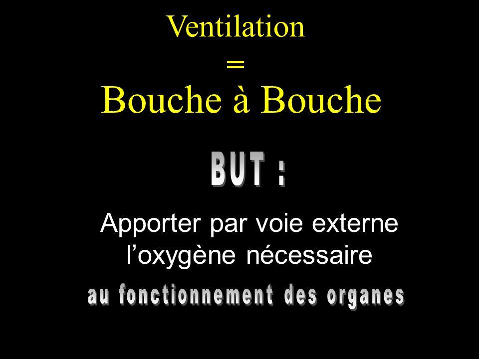 Ventilation = Bouche à Bouche Apporter par voie externe loxygène nécessaire