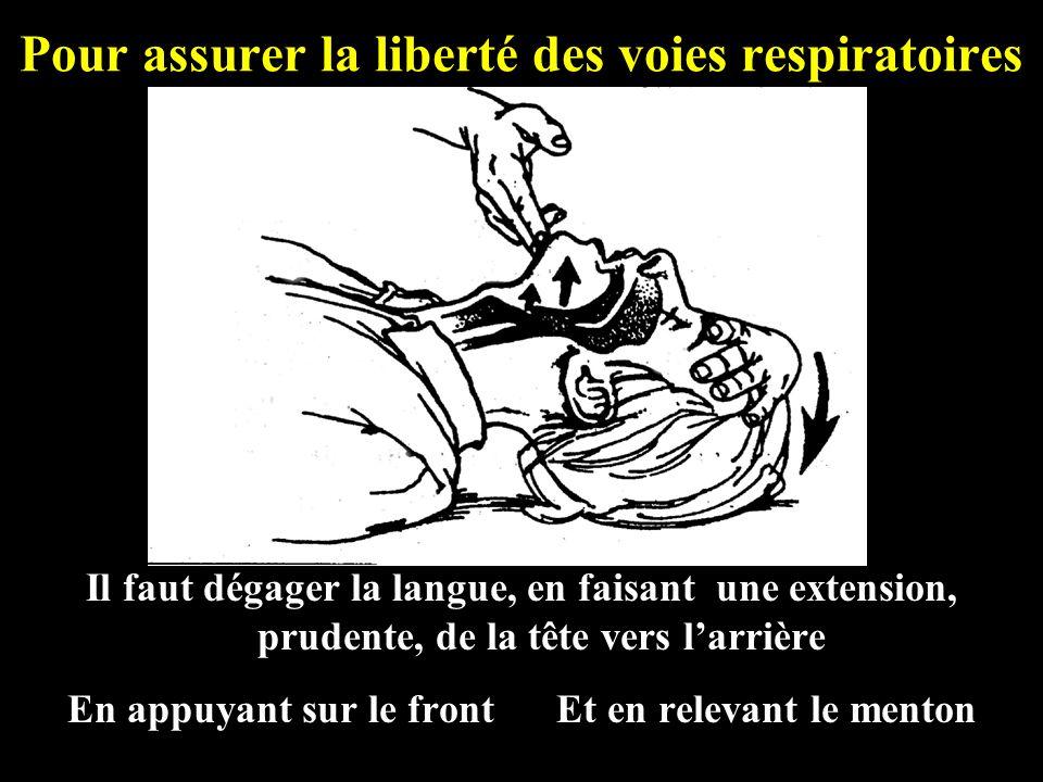 Pour assurer la liberté des voies respiratoires Il faut dégager la langue, en faisant une extension, prudente, de la tête vers larrière En appuyant su
