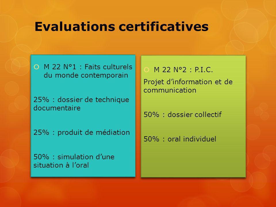 Evaluations certificatives M 22 N°1 : Faits culturels du monde contemporain 25% : dossier de technique documentaire 25% : produit de médiation 50% : s