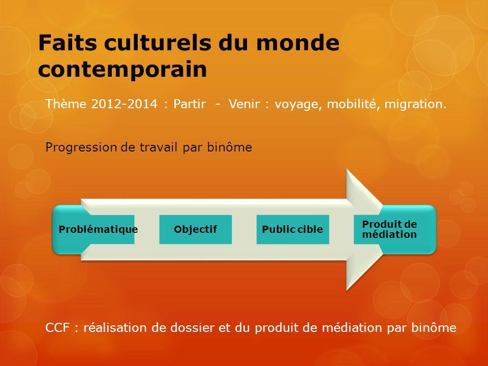 Faits culturels du monde contemporain Thème 2012-2014 : Partir - Venir : voyage, mobilité, migration. Progression de travail par binôme CCF : réalisat