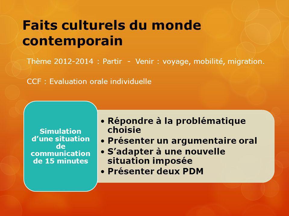 Faits culturels du monde contemporain Thème 2012-2014 : Partir - Venir : voyage, mobilité, migration. Répondre à la problématique choisie Présenter un
