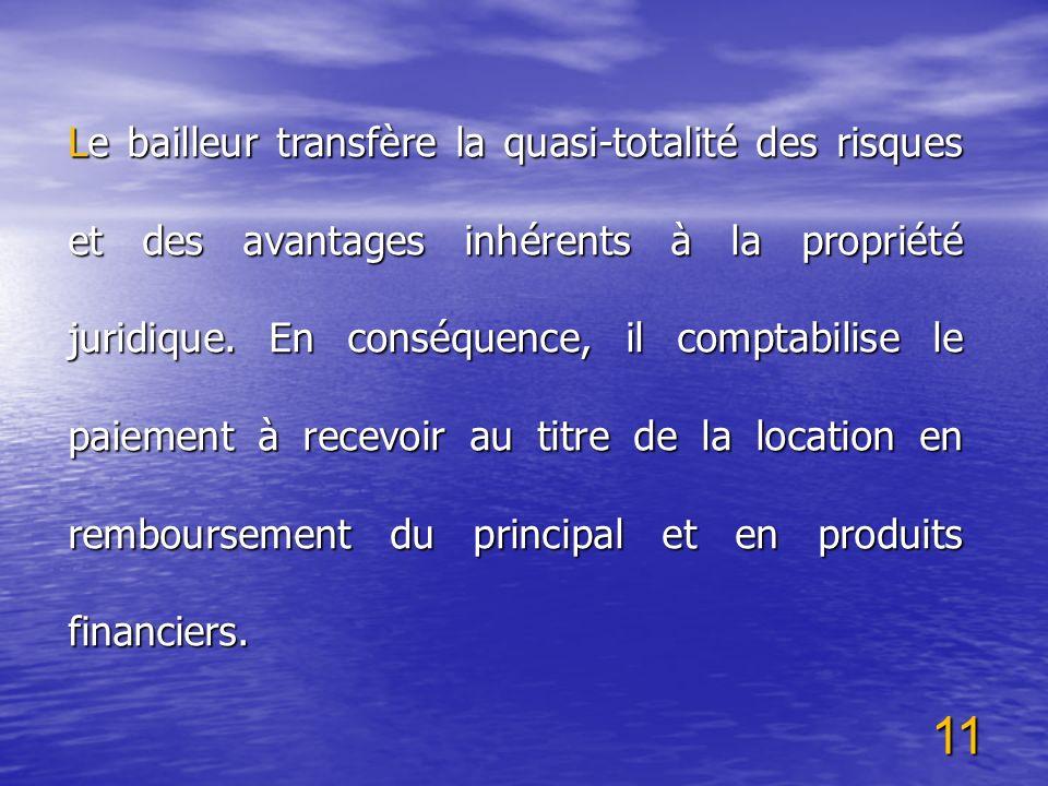 11 Le bailleur transfère la quasi-totalité des risques et des avantages inhérents à la propriété juridique. En conséquence, il comptabilise le paiemen