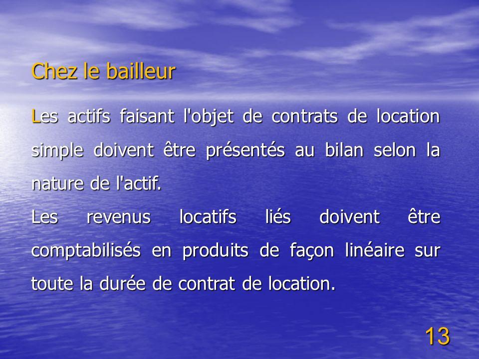 13 Chez le bailleur Les actifs faisant l'objet de contrats de location simple doivent être présentés au bilan selon la nature de l'actif. Les revenus