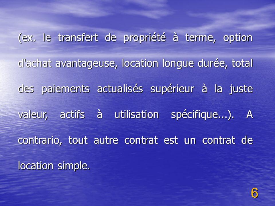 6 (ex. le transfert de propriété à terme, option d'achat avantageuse, location longue durée, total des paiements actualisés supérieur à la juste valeu
