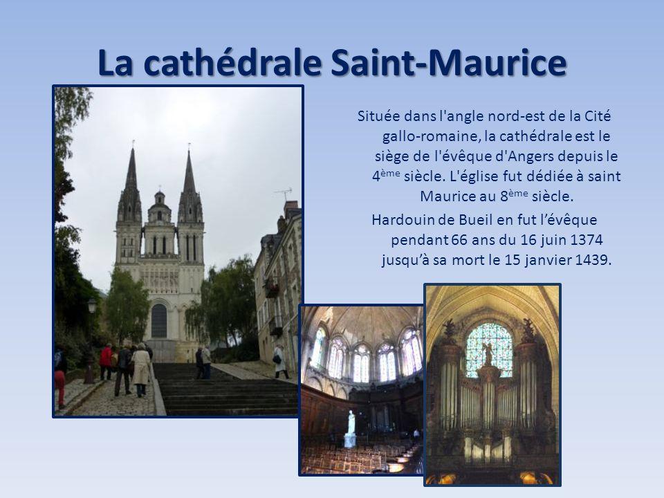 La cathédrale Saint-Maurice Située dans l'angle nord-est de la Cité gallo-romaine, la cathédrale est le siège de l'évêque d'Angers depuis le 4 ème siè