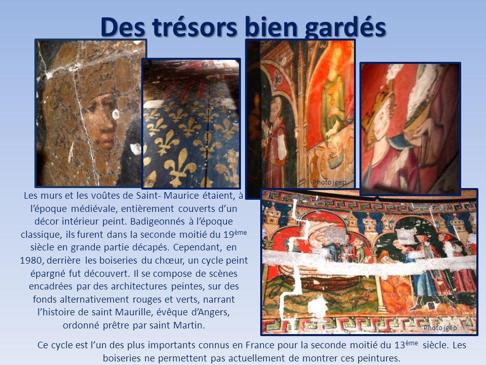 Des trésors bien gardés Les murs et les voûtes de Saint- Maurice étaient, à lépoque médiévale, entièrement couverts dun décor intérieur peint. Badigeo